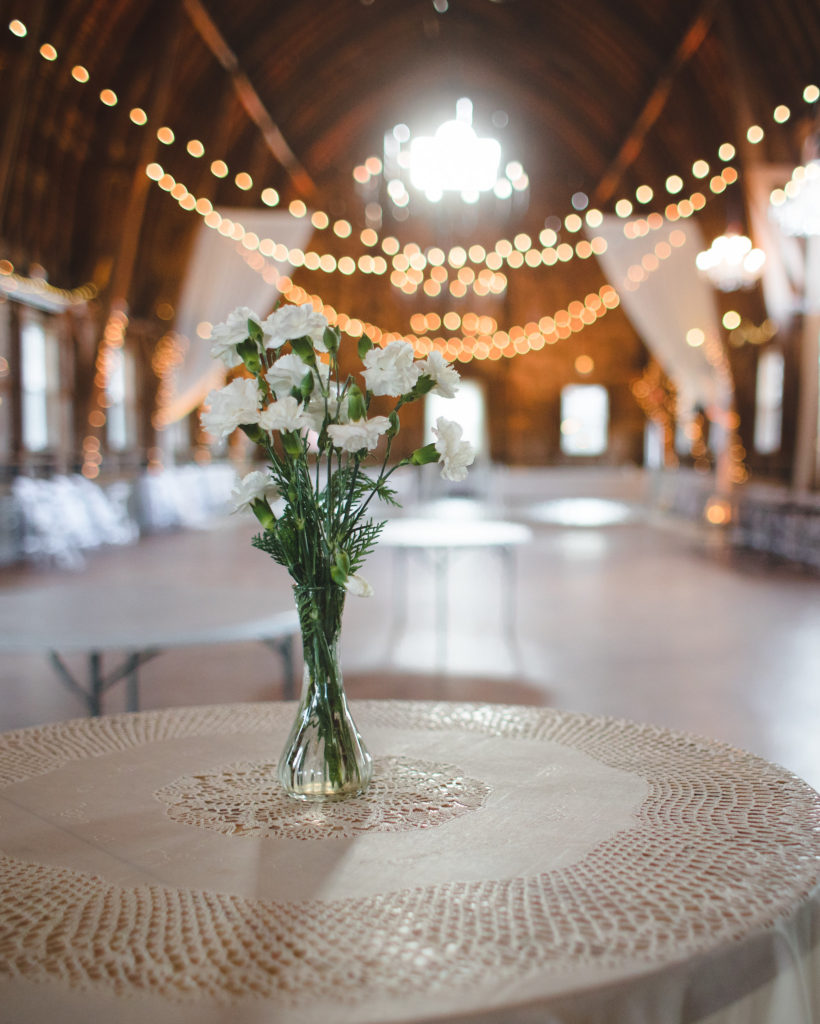 Chance Productions - Sugarland Barn - Arena, WI bulbs, string lights, uplights, drape, barn, wedding, lighting