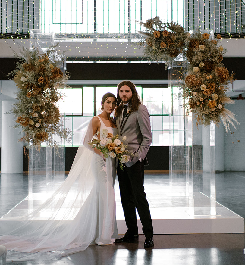 Chance Productions - The Creamery 201 - Fort Atkinson, WI Acrylic Chuppah, White Stage, Sea of Lights, Dried Floral, Wedding
