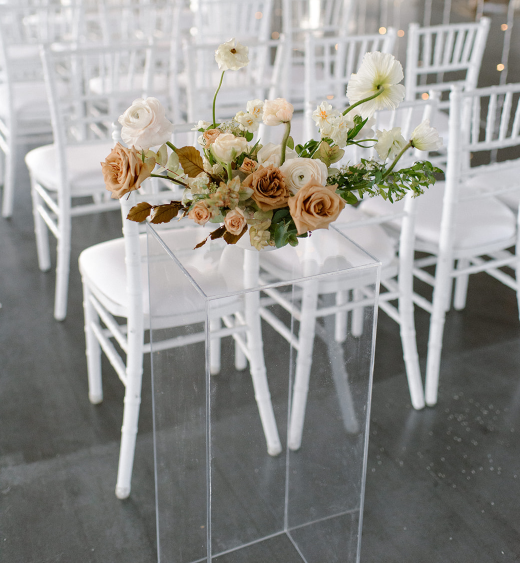 Chance Productions - The Creamery 201 - Fort Atkinson, WI wedding, rental, white chiavari chairs, acrylic pillar