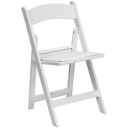 White Padded Folding Chair Rental